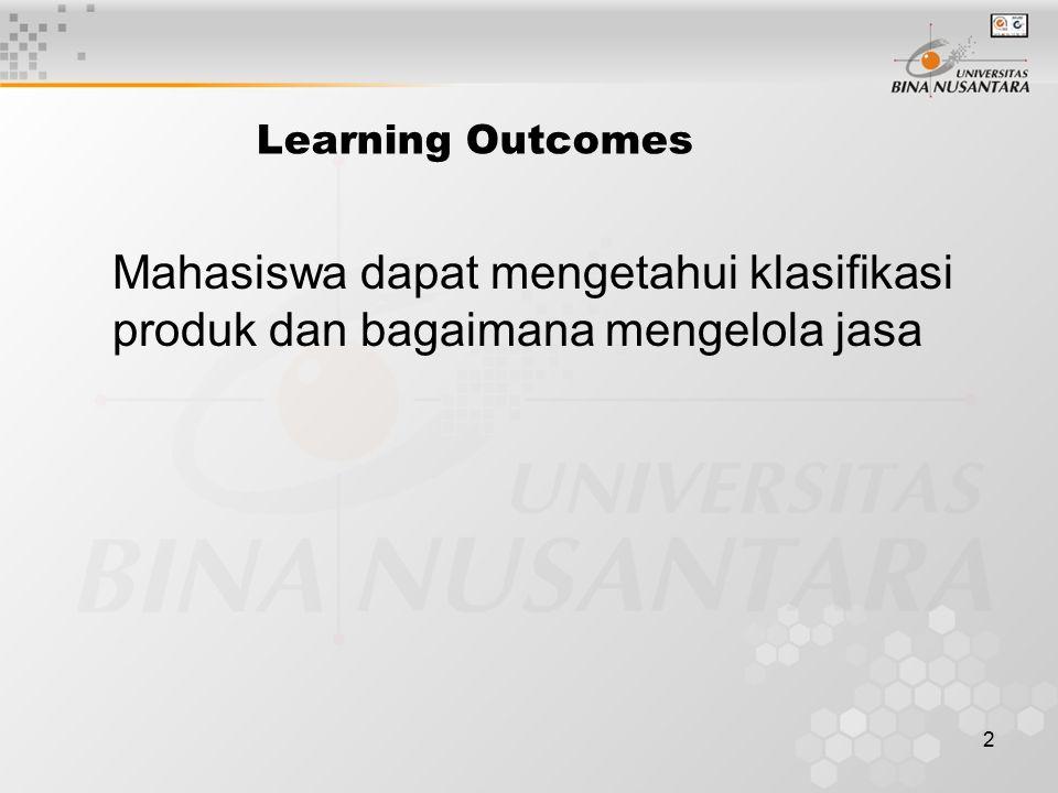 Learning Outcomes Mahasiswa dapat mengetahui klasifikasi produk dan bagaimana mengelola jasa
