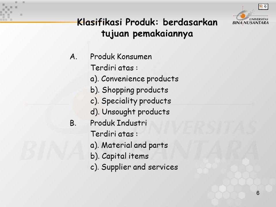 Klasifikasi Produk: berdasarkan tujuan pemakaiannya