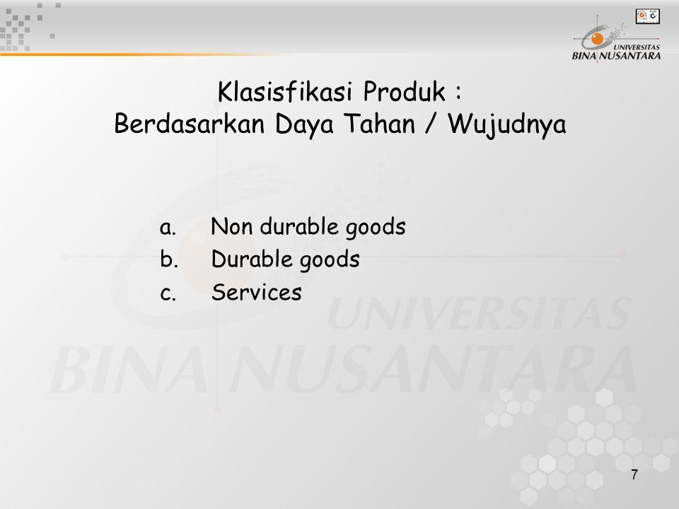 Klasisfikasi Produk : Berdasarkan Daya Tahan / Wujudnya