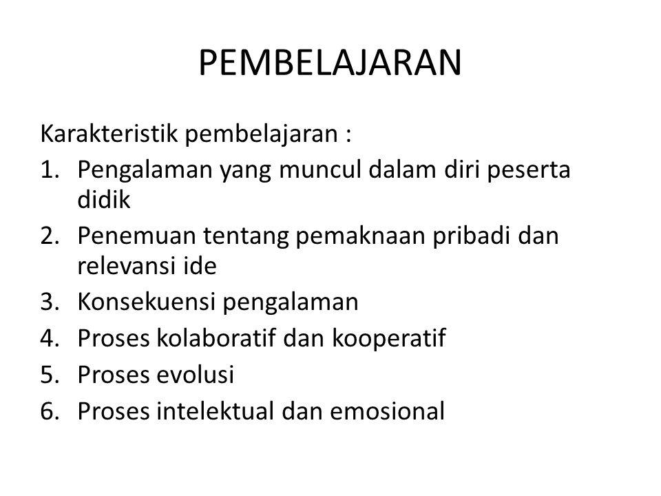 PEMBELAJARAN Karakteristik pembelajaran :