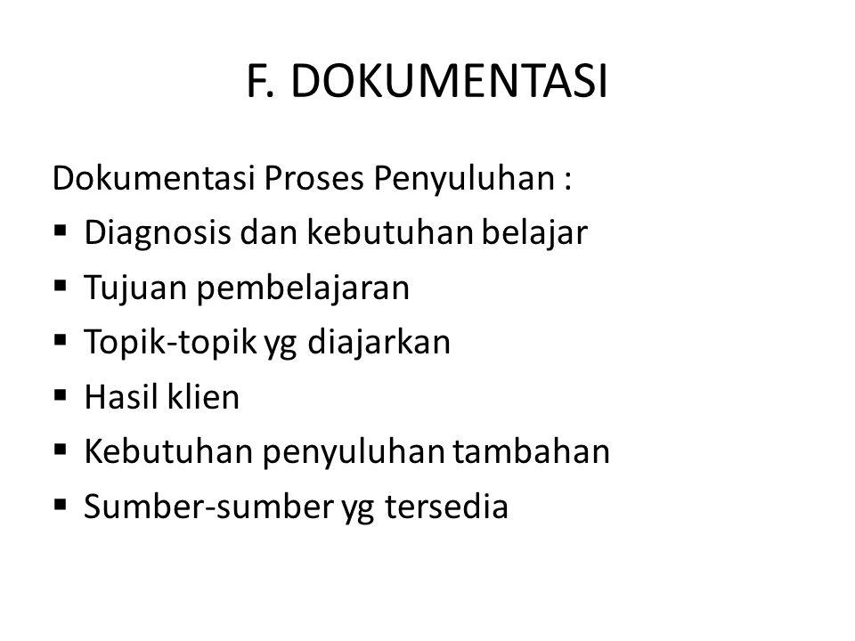 F. DOKUMENTASI Dokumentasi Proses Penyuluhan :