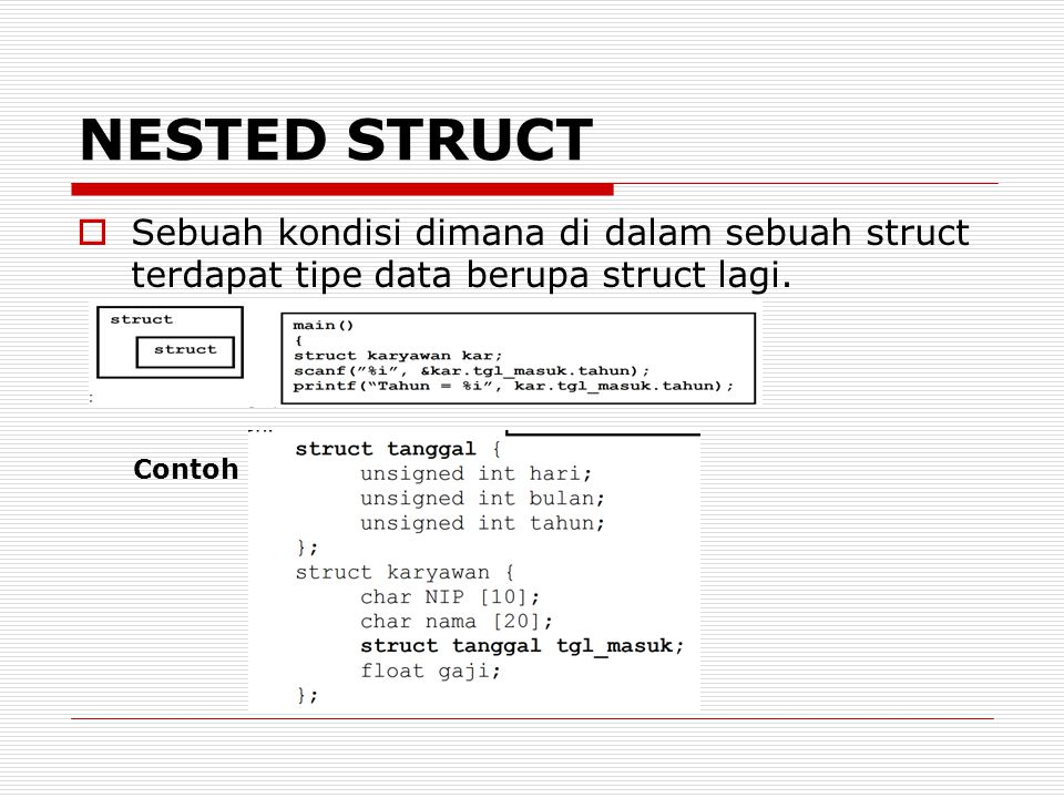 NESTED STRUCT Sebuah kondisi dimana di dalam sebuah struct terdapat tipe data berupa struct lagi.