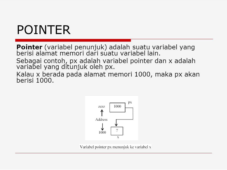 POINTER Pointer (variabel penunjuk) adalah suatu variabel yang berisi alamat memori dari suatu variabel lain.