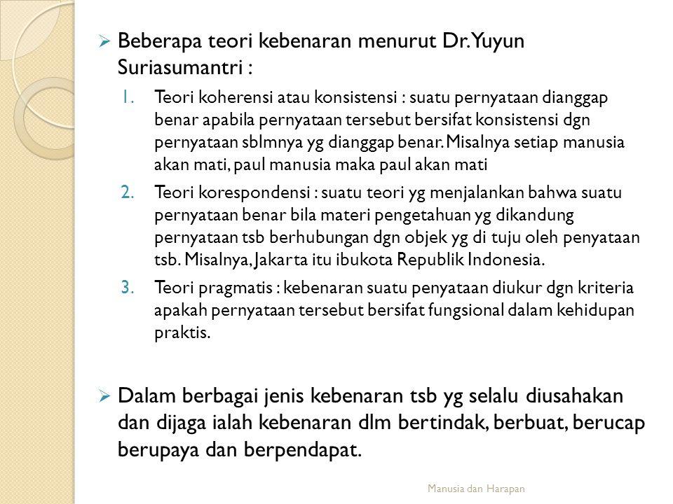 Beberapa teori kebenaran menurut Dr. Yuyun Suriasumantri :