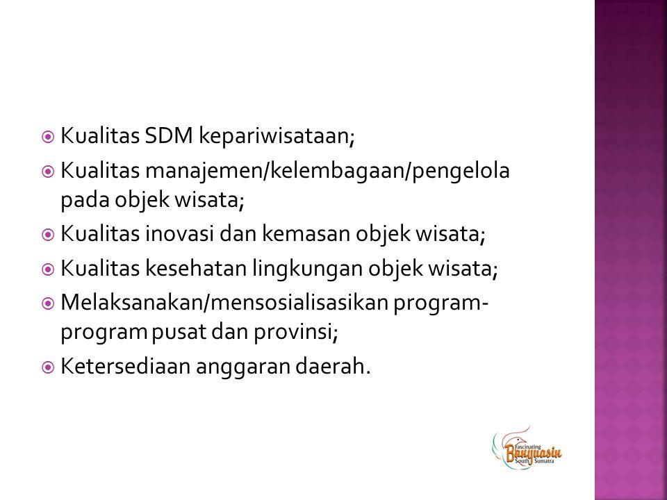 Kualitas SDM kepariwisataan;