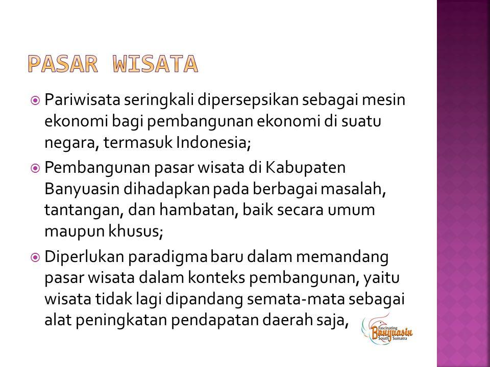 PASAR WISATA Pariwisata seringkali dipersepsikan sebagai mesin ekonomi bagi pembangunan ekonomi di suatu negara, termasuk Indonesia;