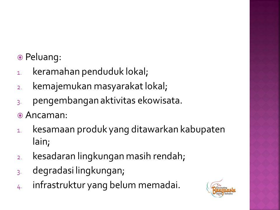 Peluang: keramahan penduduk lokal; kemajemukan masyarakat lokal; pengembangan aktivitas ekowisata.