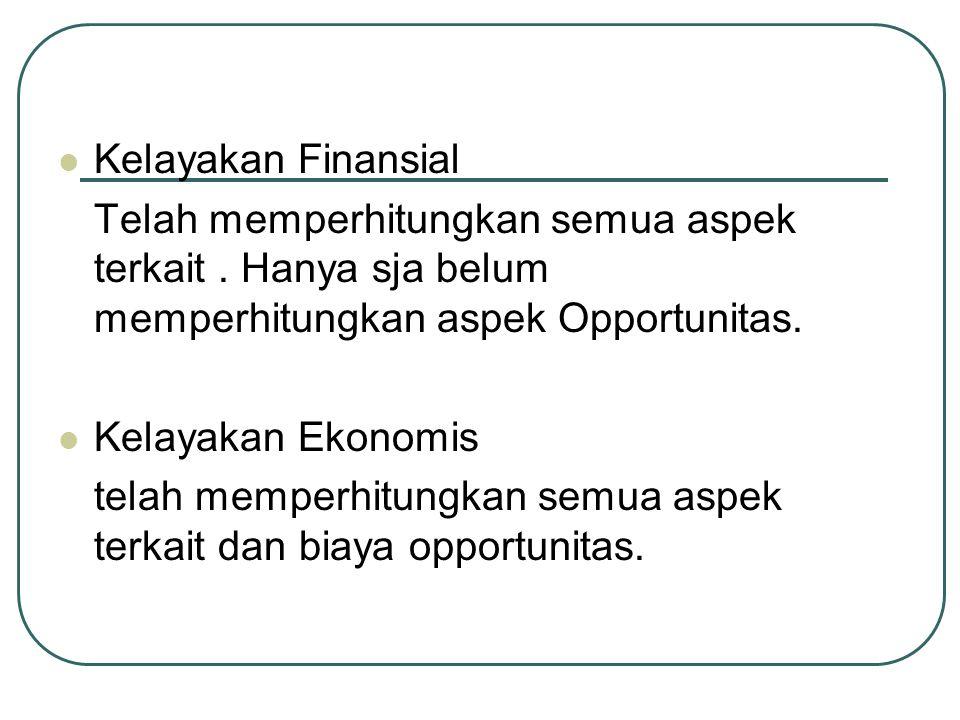 Kelayakan Finansial Telah memperhitungkan semua aspek terkait . Hanya sja belum memperhitungkan aspek Opportunitas.