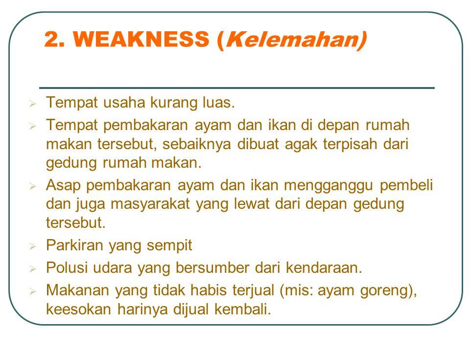 2. WEAKNESS (Kelemahan) Tempat usaha kurang luas.