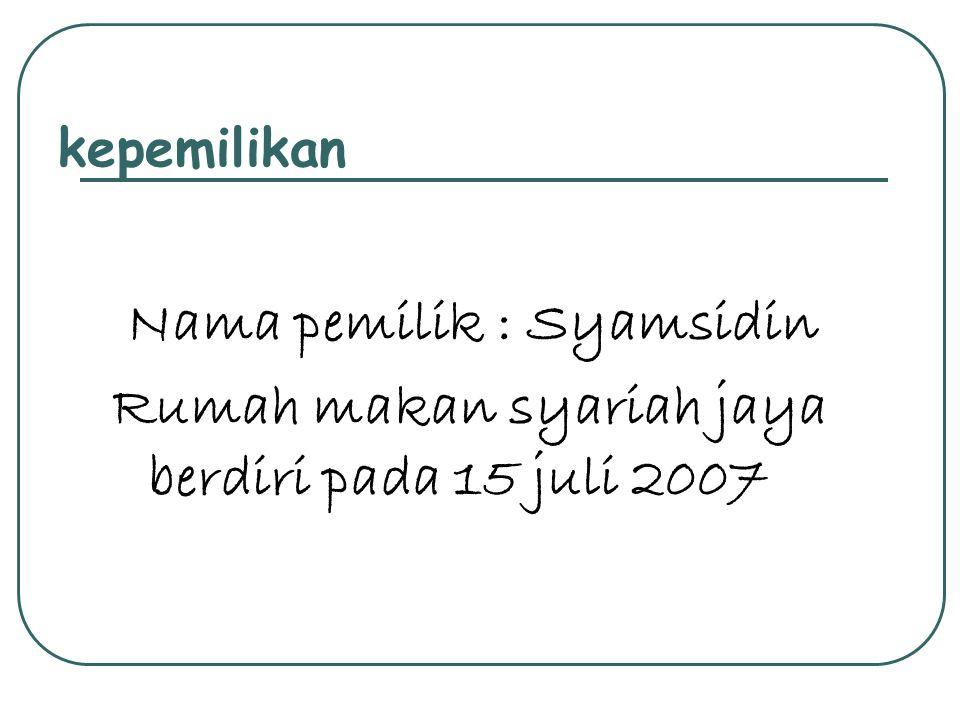 Nama pemilik : Syamsidin