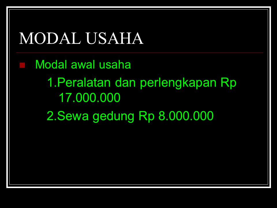 MODAL USAHA 1.Peralatan dan perlengkapan Rp 17.000.000