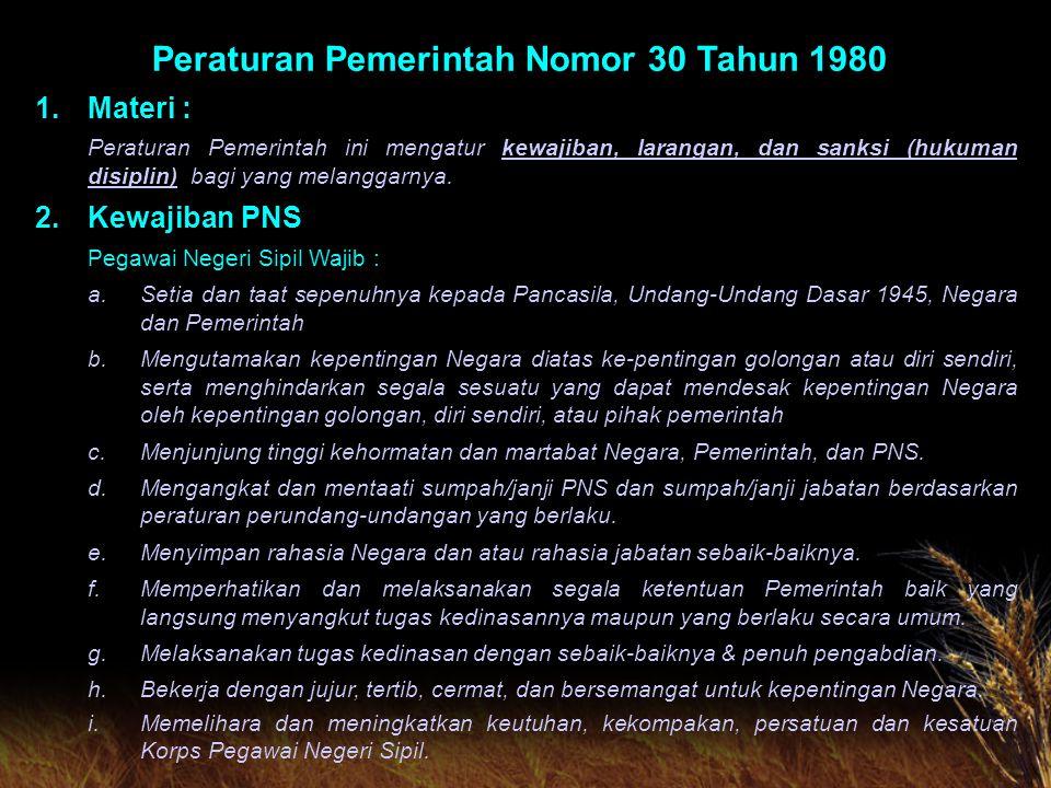 Peraturan Pemerintah Nomor 30 Tahun 1980