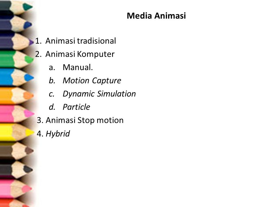 Media Animasi 1. Animasi tradisional 2. Animasi Komputer Manual.