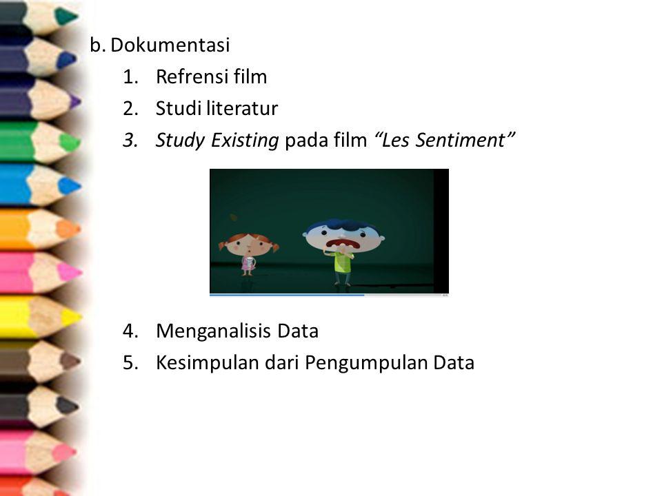 b. Dokumentasi Refrensi film. Studi literatur. Study Existing pada film Les Sentiment Menganalisis Data.