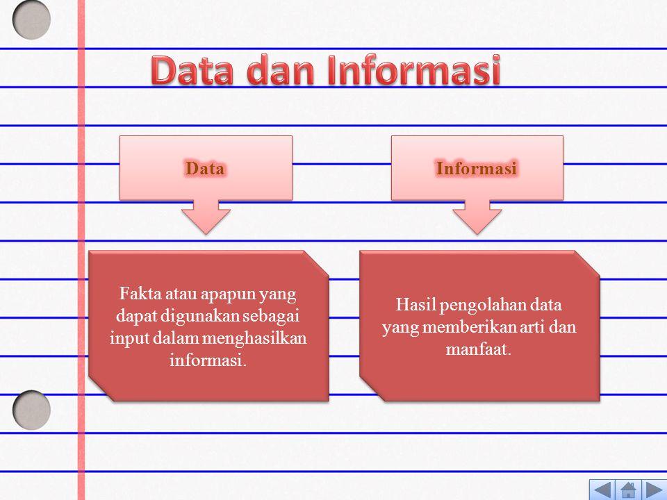 Hasil pengolahan data yang memberikan arti dan manfaat.