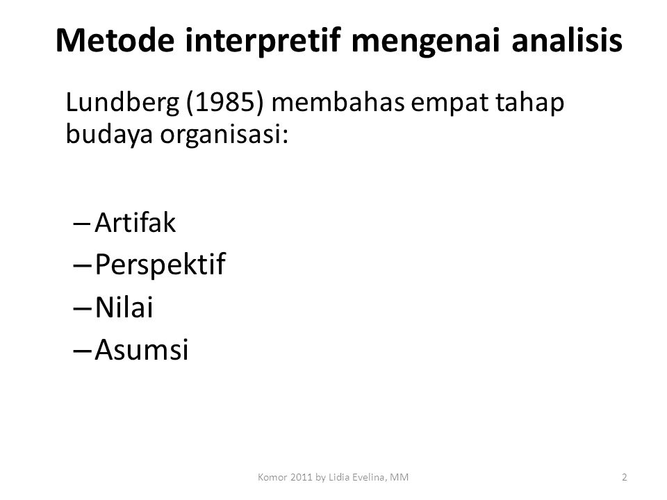 Metode interpretif mengenai analisis
