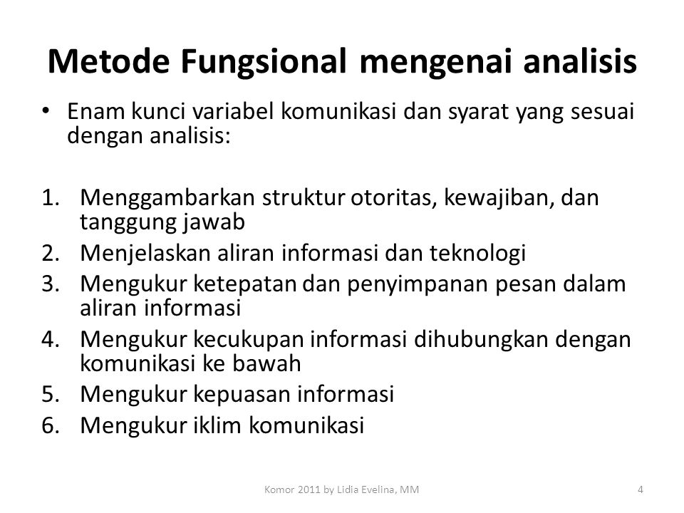 Metode Fungsional mengenai analisis