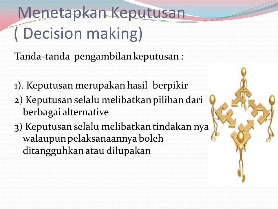 Menetapkan Keputusan ( Decision making)