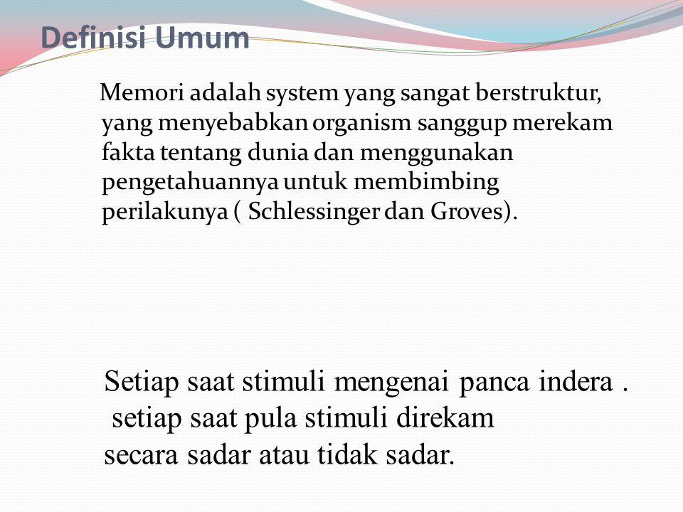 Definisi Umum Setiap saat stimuli mengenai panca indera .