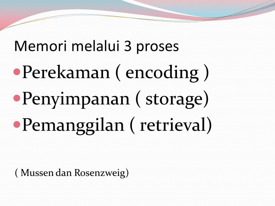 Memori melalui 3 proses Perekaman ( encoding ) Penyimpanan ( storage)