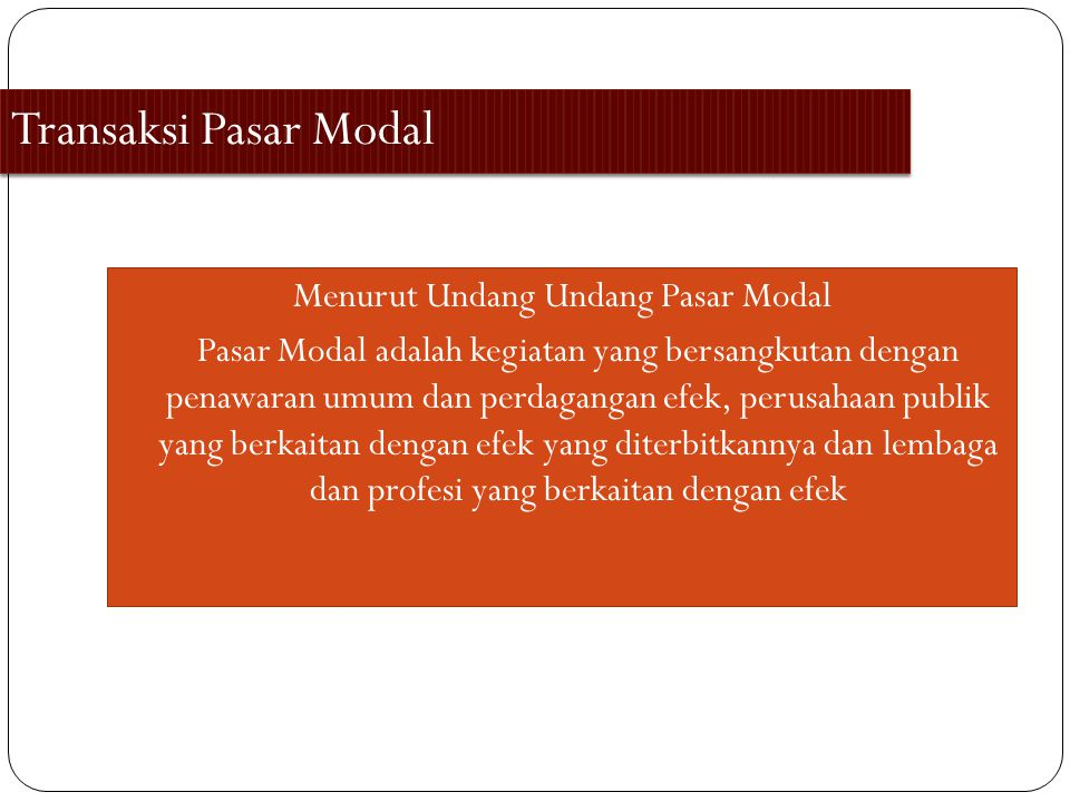 Transaksi Pasar Modal