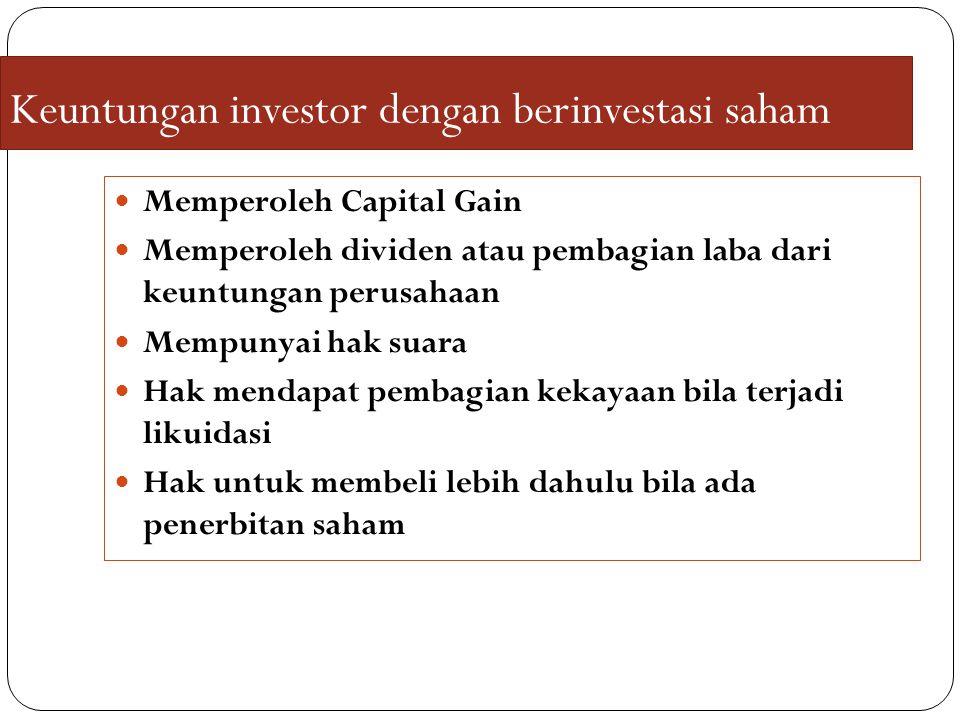 Keuntungan investor dengan berinvestasi saham
