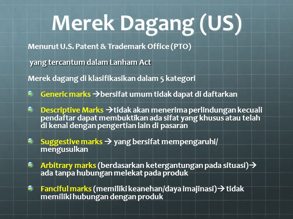 Merek Dagang (US) Menurut U.S. Patent & Trademark Office (PTO)