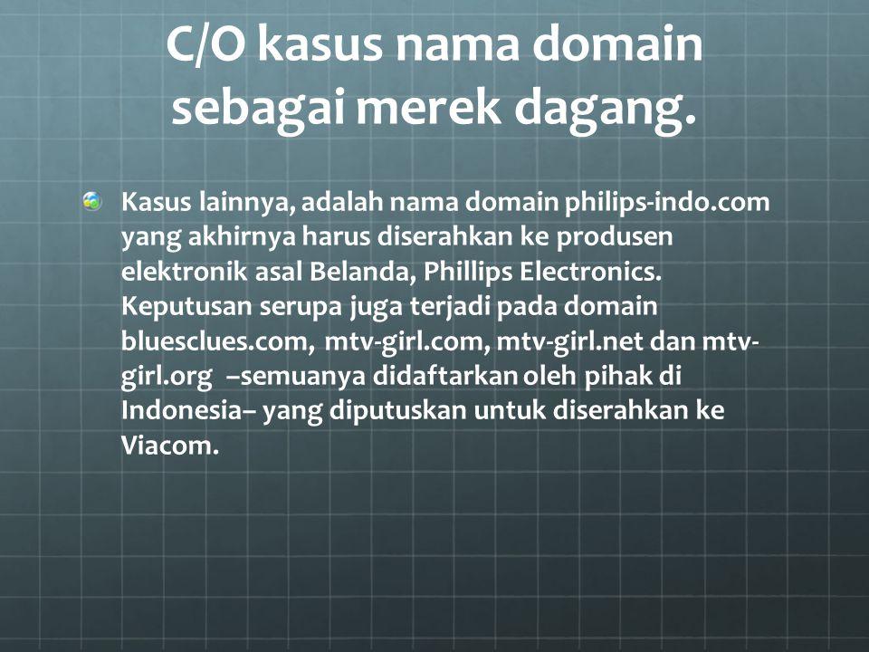 C/O kasus nama domain sebagai merek dagang.