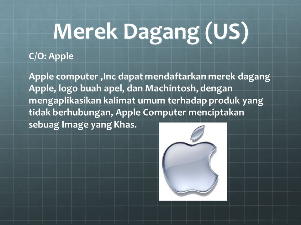 Merek Dagang (US) C/O: Apple