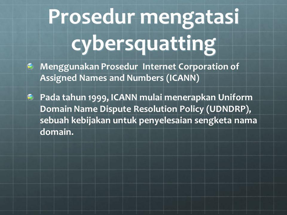 Prosedur mengatasi cybersquatting