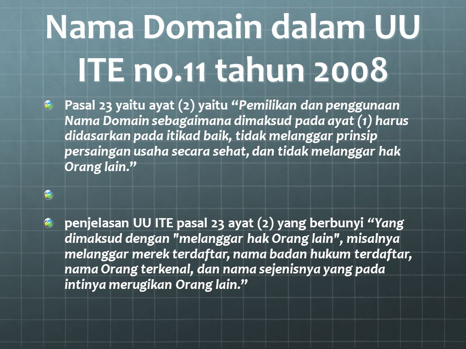 Nama Domain dalam UU ITE no.11 tahun 2008