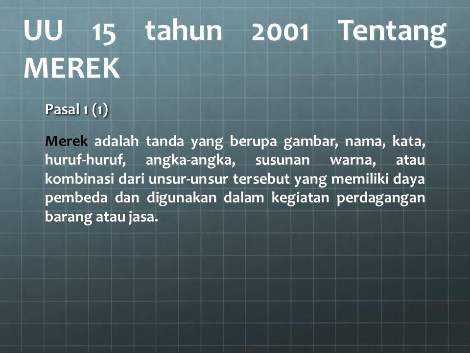 UU 15 tahun 2001 Tentang MEREK