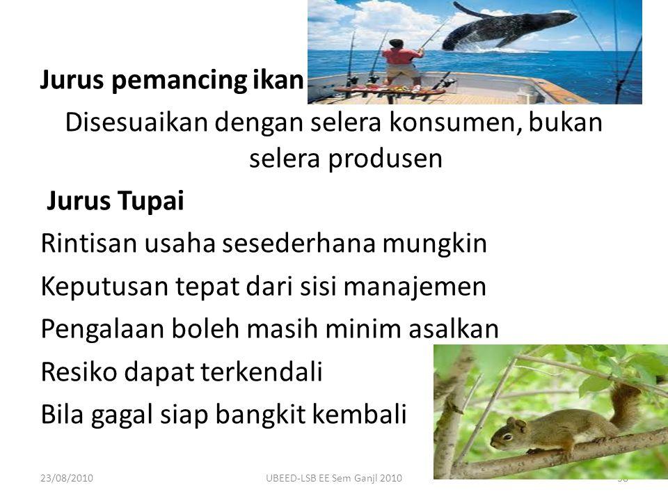 Jurus pemancing ikan Disesuaikan dengan selera konsumen, bukan selera produsen Jurus Tupai Rintisan usaha sesederhana mungkin Keputusan tepat dari sisi manajemen Pengalaan boleh masih minim asalkan Resiko dapat terkendali Bila gagal siap bangkit kembali