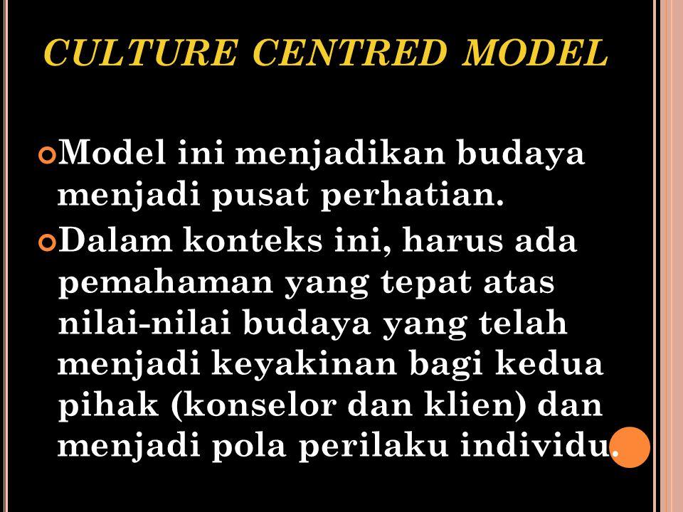 culture centred model Model ini menjadikan budaya menjadi pusat perhatian.