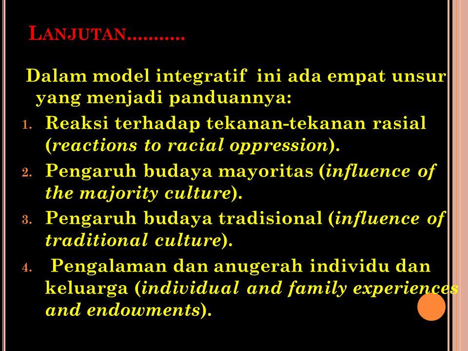 Lanjutan........... Dalam model integratif ini ada empat unsur yang menjadi panduannya: