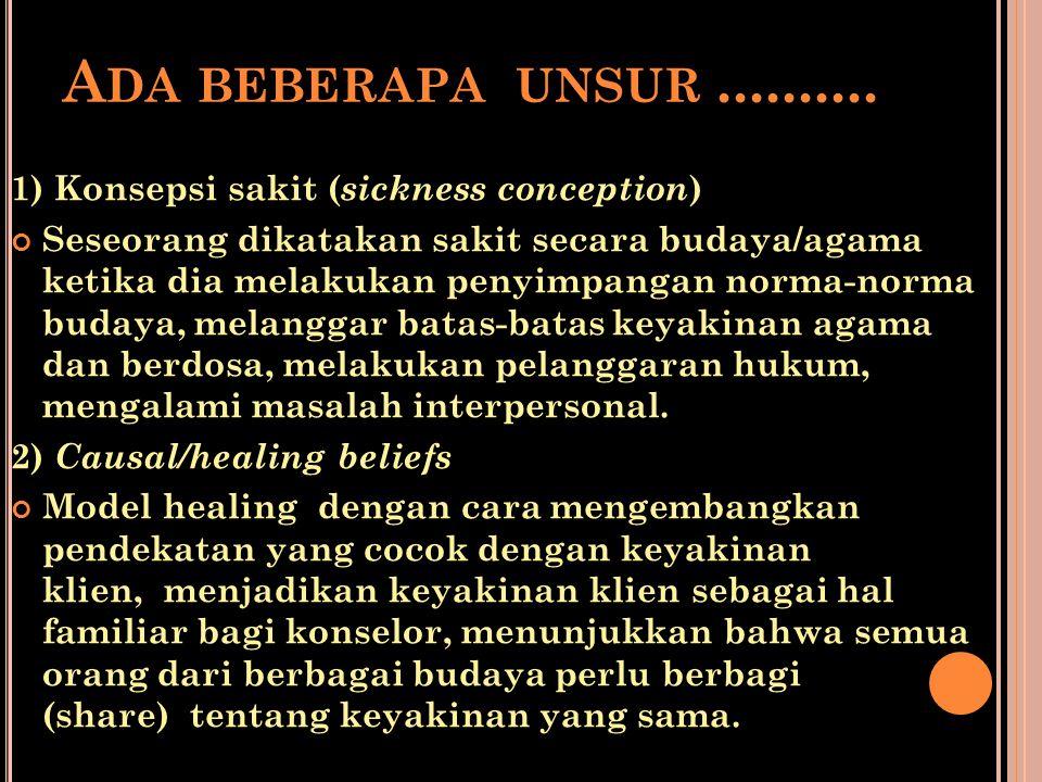 Ada beberapa unsur .......... 1) Konsepsi sakit (sickness conception)