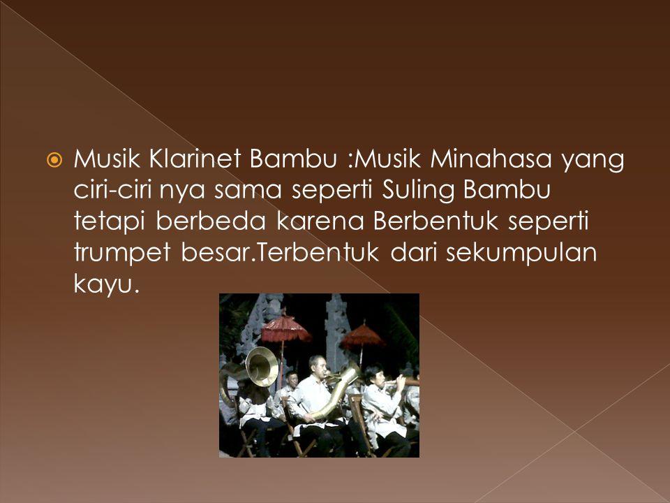 Musik Klarinet Bambu :Musik Minahasa yang ciri-ciri nya sama seperti Suling Bambu tetapi berbeda karena Berbentuk seperti trumpet besar.Terbentuk dari sekumpulan kayu.