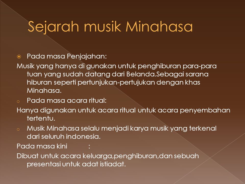 Sejarah musik Minahasa