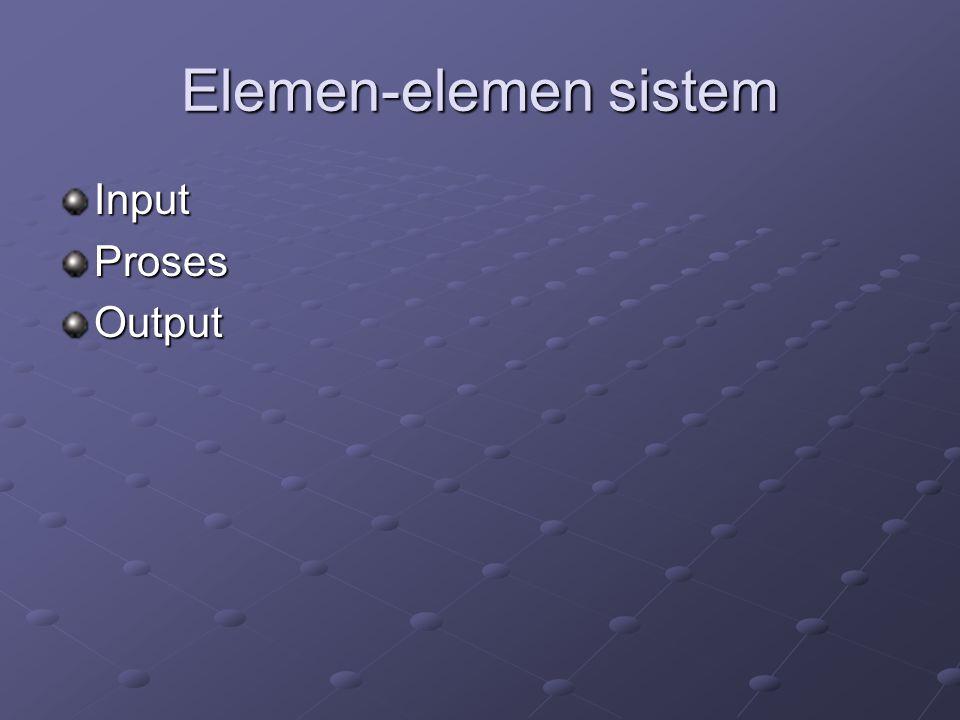 Elemen-elemen sistem Input Proses Output