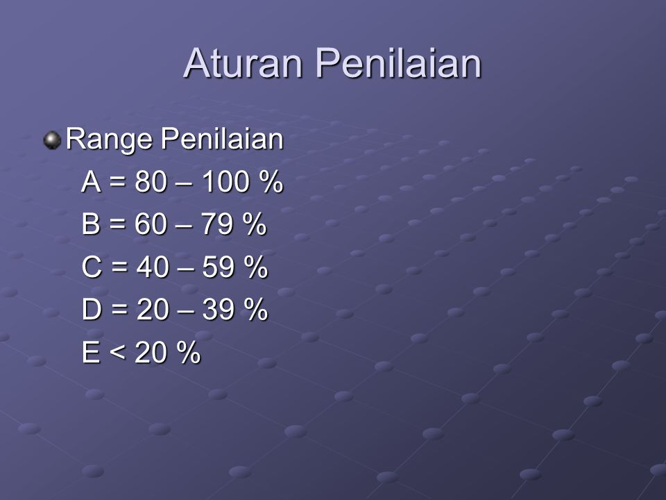 Aturan Penilaian Range Penilaian A = 80 – 100 % B = 60 – 79 %