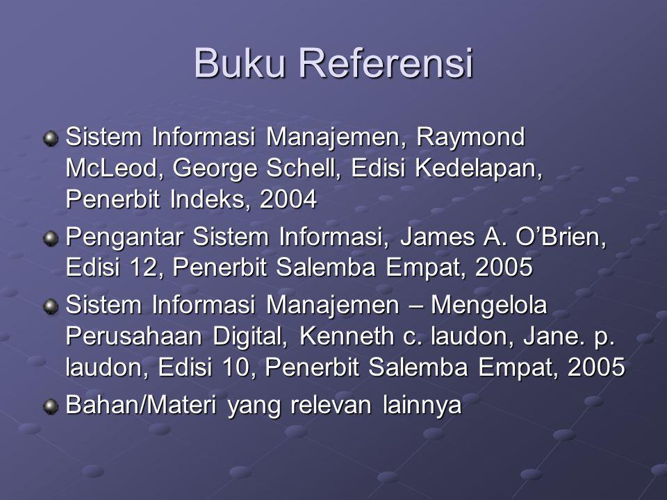 Buku Referensi Sistem Informasi Manajemen, Raymond McLeod, George Schell, Edisi Kedelapan, Penerbit Indeks, 2004.
