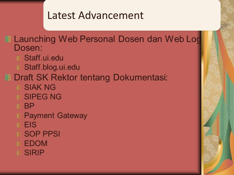 Latest Advancement Launching Web Personal Dosen dan Web Log Dosen: