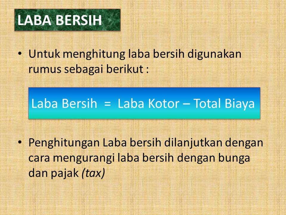 LABA BERSIH Laba Bersih = Laba Kotor – Total Biaya