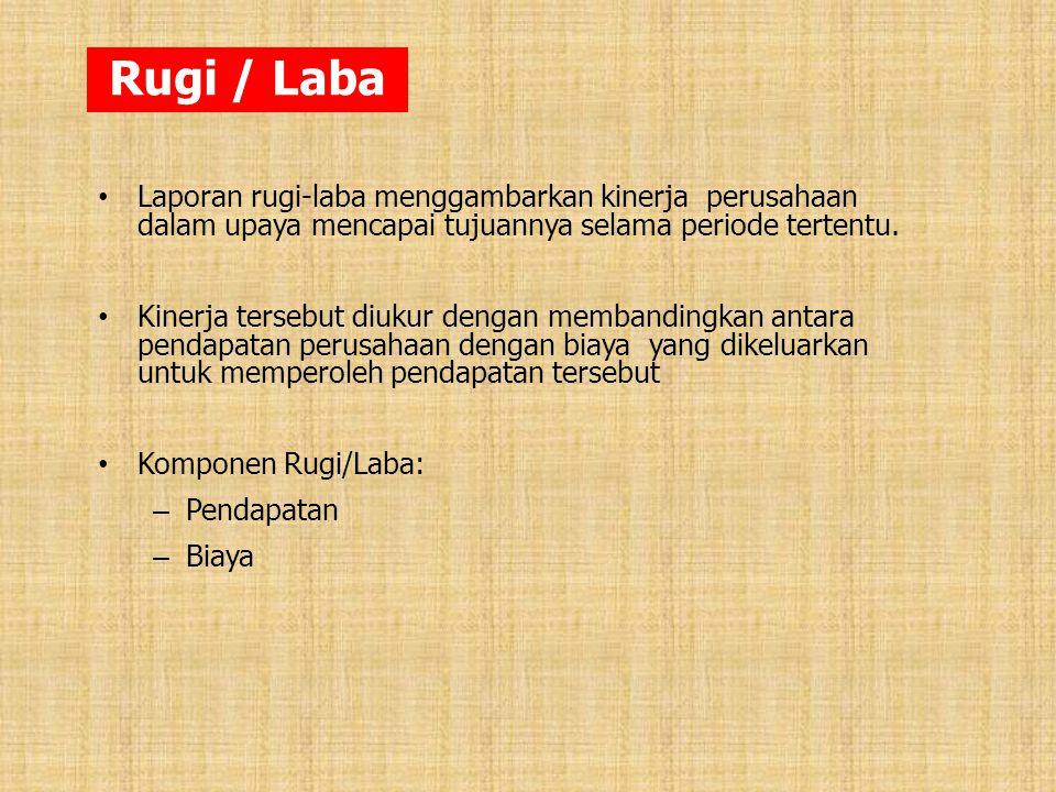 Rugi / Laba Laporan rugi-laba menggambarkan kinerja perusahaan dalam upaya mencapai tujuannya selama periode tertentu.