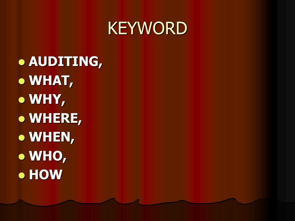 KEYWORD AUDITING, WHAT, WHY, WHERE, WHEN, WHO, HOW