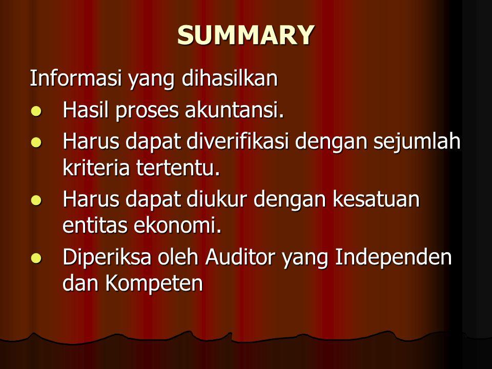 SUMMARY Informasi yang dihasilkan Hasil proses akuntansi.