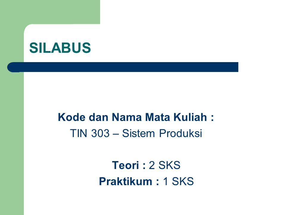 SILABUS Kode dan Nama Mata Kuliah : TIN 303 – Sistem Produksi