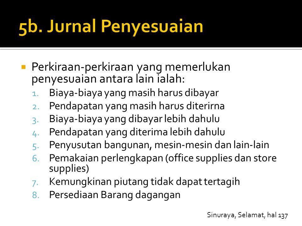 5b. Jurnal Penyesuaian Perkiraan-perkiraan yang memerlukan penyesuaian antara lain ialah: Biaya-biaya yang masih harus dibayar.