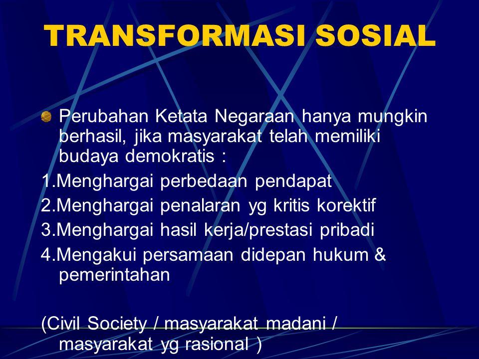 TRANSFORMASI SOSIAL Perubahan Ketata Negaraan hanya mungkin berhasil, jika masyarakat telah memiliki budaya demokratis :