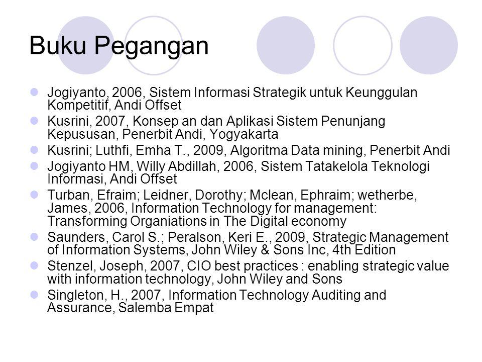 Buku Pegangan Jogiyanto, 2006, Sistem Informasi Strategik untuk Keunggulan Kompetitif, Andi Offset.